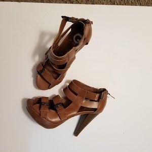 Guess Brown Platform Sandals Buckle/Zip Size 7.5M